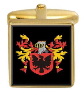 【送料無料】メンズアクセサリ― イギリスカフスボタンボックスコートorsmond england family crest surname coat of arms gold cufflinks engraved box