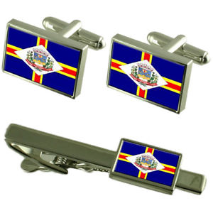 【送料無料】メンズアクセサリ― シティエスピリトサントカフスボタンタイクリップボックスセットguacui city espirito santo state flag cufflinks tie clip box gift set