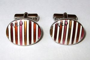 【送料無料】メンズアクセサリ― テッドベーカーカフスボタンオレンジピンクホワイトブラウンイエローエナメルストライプted baker cufflinks orange pink white brown yellow enamel stripes