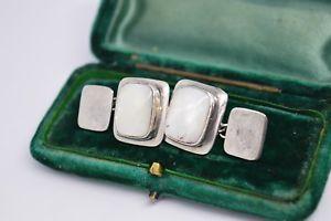 【送料無料】メンズアクセサリ― ビンテージアールデコスターリングシルバーパールカフリンクスvintage art deco sterling silver cufflinks with a mother of pearl insert b256