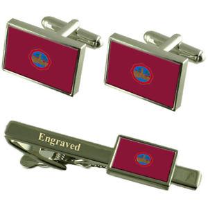 【送料無料】メンズアクセサリ― コルドバスペインカフスボタンタイクリップセットcordoba city spain flag cufflinks engraved tie clip set