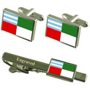 【送料無料】メンズアクセサリ― エクアドルカフスボタンタイクリップセットportoviejo city ecuador flag cufflinks engraved tie clip set