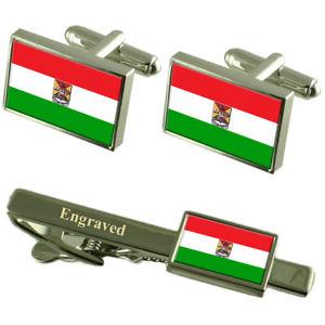 【送料無料】メンズアクセサリ― エクアドルカフスボタンタイクリップセットazogues city ecuador flag cufflinks engraved tie clip set