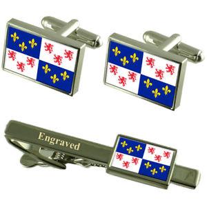 【送料無料】メンズアクセサリ― フランスカフスボタンタイクリップセットpicardy province france flag cufflinks engraved tie clip set