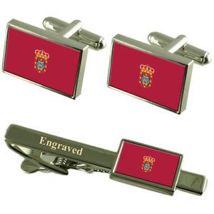 【送料無料】メンズアクセサリ― シウダーレアルスペインカフスボタンタイクリップセットciudad real city spain flag cufflinks engraved tie clip set