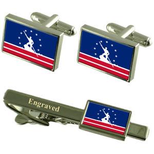 【送料無料】メンズアクセサリ― リッチモンドアメリカカフスボタンタイクリップセットrichmond city usa flag cufflinks engraved tie clip set