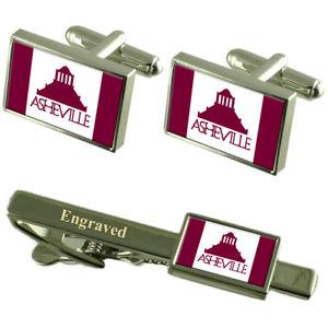 【送料無料】メンズアクセサリ― アシュビルアメリカカフスボタンタイクリップセットasheville city usa flag cufflinks engraved tie clip set