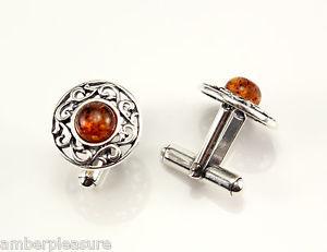 【送料無料】メンズアクセサリ― コニャックバルトスターリングシルバーカフリンクスclassic cognac baltic amber amp; sterling silver cufflinks
