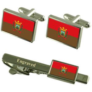 【送料無料】メンズアクセサリ― ブルゴススペインカフスボタンタイクリップセットburgos city spain flag cufflinks engraved tie clip set
