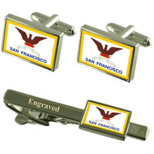 【送料無料】メンズアクセサリ― サンフランシスコアメリカカフスボタンタイクリップセットsan francisco city usa flag cufflinks engraved tie clip set