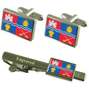 【送料無料】メンズアクセサリ― ニューベリフラグカフスリンクネクタイピンセットbury city england flag cufflinks engraved tie clip set