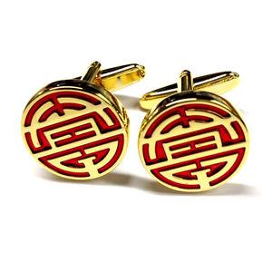 【送料無料】メンズアクセサリ― シンボルメンズカフリンクスgold plated and red chinese longevity symbol museum mens gift for him cufflinks