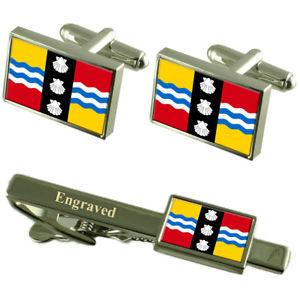 【送料無料】メンズアクセサリ― bedfordshireフラグカフスリンクネクタイピンセットbedfordshire county england flag cufflinks engraved tie clip set