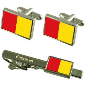 【送料無料】メンズアクセサリ― リエージュベルギーフラグカフスリンクネクタイピンセットliege city belgium flag cufflinks engraved tie clip set