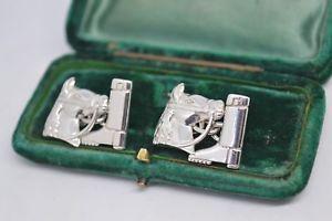 【送料無料】メンズアクセサリ― ビンテージスターリングシルバーカフリンクスvintage sterling silver cufflinks with a horse equestrian design b667