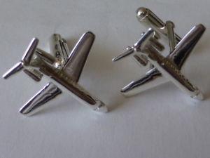 【送料無料】メンズアクセサリ― スターリングシルバーレアジェットカフリンクスsterling silver lear jet plane cufflinks uk made