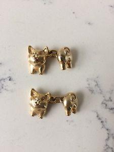 【送料無料】メンズアクセサリ― ビンテージカフリンクスゴールドトーンvintage pigs cuff links gold tone