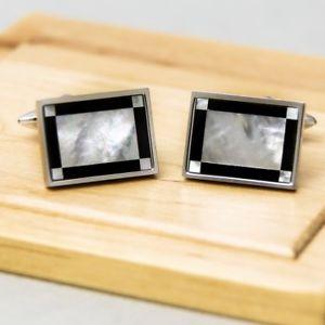【送料無料】メンズアクセサリ― パールオニキスフレームカフリンクスmother of pearl and onyx frame cufflinks
