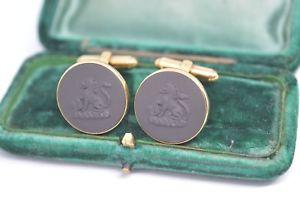 【送料無料】メンズアクセサリ― ビンテージライオンデザインカフリンクスvintage gilt sterling silver wedgwood cufflinks with a basalt lion design b678