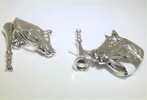 【送料無料】メンズアクセサリ― スターリングシルバーフォックスハンティングホルンカフスボタンカフリンクス925 sterling silver fox hunting horn horse head equestrian cufflinks cuff links