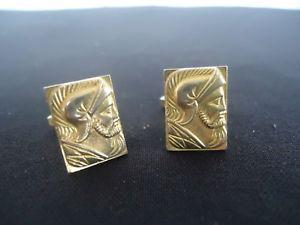 【送料無料】メンズアクセサリ― ヴィンテージゴールドメンズセンチュリオンローマカフリンクスvintage gold mens cufflinks centurion roman soldier knight beard