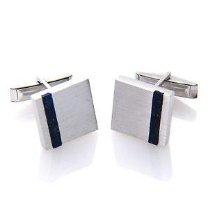 【送料無料】メンズアクセサリ― スターリングシルバーラピスラズリサテンメンズ925 sterling silver lapis lazuli satin finish square gemstone cufflink mens gift