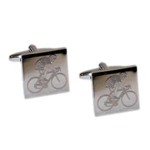 【送料無料】メンズアクセサリ― バイクサイクリストカフリンクスcyclist on bike engraved mens gift for him cufflinks