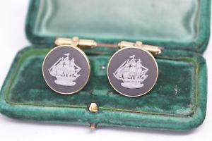 【送料無料】メンズアクセサリ― ビンテージカフリンクスvintage gilt sterling silver wedgwood cufflinks with a basalt ship design b669