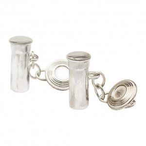 【送料無料】メンズアクセサリ― クレーカフリンクススターリングシルバーclay pigeon shooting cufflinks sterling silver