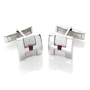 【送料無料】メンズアクセサリ― スターリングシルバールビーデュアルスクエアカフスボタンメンズ925 sterling silver genuine ruby gemstone dual finish square cufflinks mens gift