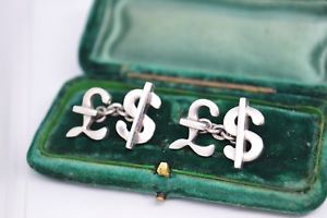 【送料無料】メンズアクセサリ― ビンテージスターリングシルバーロンドンリンクドルカフリンクスvintage sterling silver cufflinks with money design by links of london b375