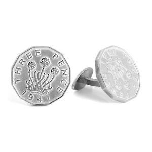 【送料無料】メンズアクセサリ― スターリングシルバーペンスカフスボタンビット925 sterling silver three pence cufflinks threepenny bit