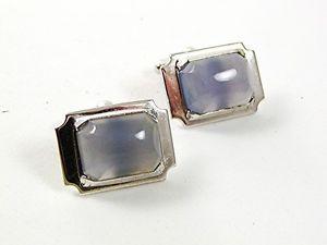 【送料無料】メンズアクセサリ― ビンテージクリスタルカフスボタンvintage silvertone amp; agate crystal cufflinks 31817