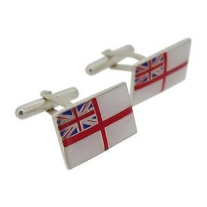 【送料無料】メンズアクセサリ― ロイヤルネイビーシルバーエナメルカフリンクスroyal navy silver and enamel cufflinks