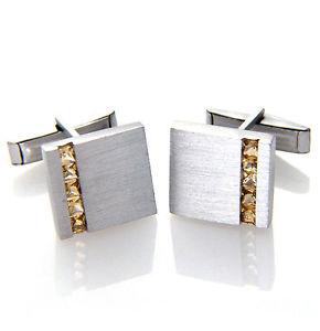 【送料無料】メンズアクセサリ― スターリングシルバースクエアサテンシトリンカフスボタンメンズ925 sterling silver square satin finish citrine gemstone cufflinks mens gifts