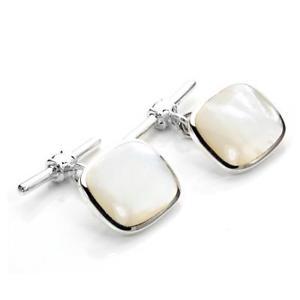 【送料無料】メンズアクセサリ― スターリングシルバーパールトグルカフリンクス925 sterling silver oblong mother of pearl toggle cufflinks