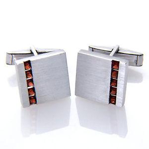 【送料無料】メンズアクセサリ― スターリングシルバースクエアガーネットカフスボタンメンズ925 sterling silver square genuine red garnet gemstone cufflinks mens gifts