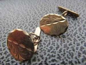 【送料無料】メンズアクセサリ― ビンテージイエローゴールドカフリンクスvintage small 9ct yellow gold oval cufflinks