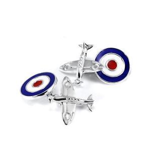 【送料無料】メンズアクセサリ― スターリングシルバーカフリンクス925 sterling silver spitfire plane with raf roundel cufflinks