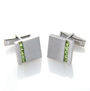 【送料無料】メンズアクセサリ― サテンスターリングシルバーペリドットカフスボタンメンズsatin finish square 925 sterling silver peridot gemstone cufflinks mens gifts