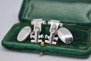 【送料無料】メンズアクセサリ― ビンテージスターリングシルバーレーシングテーマカフリンクスvintage sterling silver cufflinks with an f1 racing theme b521