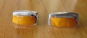 【送料無料】メンズアクセサリ― ロシアシルバーカフリンクス*rare* russian hallmark 875 silver amp; butterscotch egg yolk amber large cufflinks
