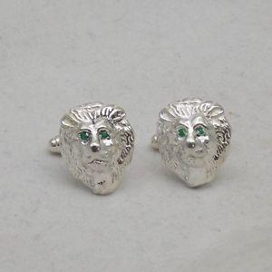 【送料無料】メンズアクセサリ― スターリングシルバーライオンマスクエメラルドカフスボタンセットsterling silver lion mask cufflinks set with emerald eyes
