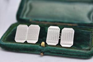 【送料無料】メンズアクセサリ― ビンテージスターリングシルバーアールデコデザインカフリンクスvintage sterling silver cufflinks with an art deco design b853