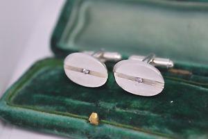 【送料無料】メンズアクセサリ― ビンテージアールデコスターリングシルバーカフリンクスvintage art deco sterling silver cufflinks with a crystal stone insert b580