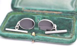 【送料無料】メンズアクセサリ― ビンテージスターリングアールデコオニキスシルバーカフリンクスvintage sterling silver cufflinks with an art deco onyx insert c682