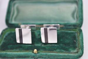 【送料無料】メンズアクセサリ― ビンテージスターリングシルバーアールデコオニキスカフリンクスvintage sterling silver cufflinks with an art deco onyx insert c653