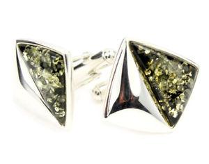 【送料無料】メンズアクセサリ― バルトグリーンオレンジスターリングシルバーカフリンクスbaltic green amber and sterling silver cufflinks
