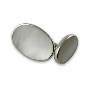 【送料無料】メンズアクセサリ― スターリングシルバーカフリンクスsterling silver mop oval cufflinks
