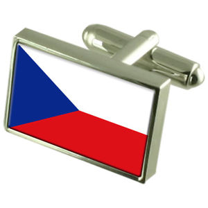 【送料無料】メンズアクセサリ― チェコボックスカフリンクスthe czech republic sterling silver flag cufflinks in engraved personalised box
